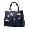 พร้อมส่ง กระเป๋าหนัง กระเป๋าถือสตรี สไตล์แบรนด์ MIU MIU ปักลายดอกไม้ แฟชั่นเกาหลี รหัส KO-8255 สีน้ำเงิน 1 ใบ