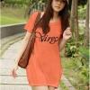 (Sale สกรีนบางจุดไม่คมชัด) เสื้อยืดเกาหลี ตัวยาว ลาย Virgo สีส้ม