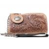 กระเป๋าสตางค์หนังวัวแท้ ลวดลายช่อไม้ ขนาดเล็กกระทัดรัด แปลกใหม่ ไม่เหมือนใคร รูปทรงสไตน์ Cowboy