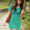 (Sale สกรีนบางจุดไม่คมชัด) เสื้อยืดเกาหลี ตัวยาว ลาย Virgo สีเขียว