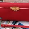 พร้อมส่ง รหัส AB-3010 สีแดง กระเป๋าสตางค์แฟชั่น ยาว 3 พับแต่งอะไหล่สไตล์ Lyn พร้อมสายคล้องมือ