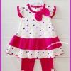 ชุดเสื้อสีชมพูลายหัวใจ แขนระบาย พร้อมกางเกงเลคกิ้ง ไซส์ 18 เดือน