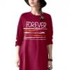 เสื้อยืดตัวยาว /แซกสั้น ผ้านุ่ม แขนยาว ลาย Forever (สีชมพูบานเย็น)