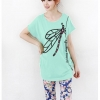 เสื้อยืดแฟชั่น ผ้านุ่ม ลาย Colorful Dragonfly III สีเขียวมินท์