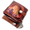 กระเป๋าสตางค์สีน้ำตาล ลายอินเดียแดง 2 พับ พร้อมโซ่ Line id : 0853457150