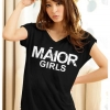เสื้อยืดแฟชั่น ตัวยาว ผ้าเนื้อนิ่ม ลาย Maior สีดำ ( ตัวยาว size เล็ก สำหรับสาวสะโพกไม่เกิน 38 นิ้ว)