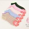 S275**พร้อมส่ง** (ปลีก+ส่ง) ถุงเท้าแฟชั่นเกาหลี ข้อสั้น ลายจุด เนื้อดี งานนำเข้า(Made in China)