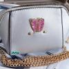 พร้อมส่ง KB-628-1-สีเงิน กระเป๋าสะพายไซร์มินิน่ารักสายสะพายโซ่แต่งอะไหล่ Glitter-rabbit หนังมุก