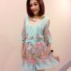 เสื้อผ้าแฟชั่น สุด Chic จั๊มสูทชีฟอง ลายดอก สายผูกเอว รหัส BT106_2