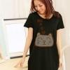 เสื้อยืดเกาหลี ตัวยาว / แซกสั้น Cotton Combed เนื้อนุ่ม งานคุณภาพ ลาย แมวเหมียว สีดำ