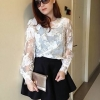 เสื้อผ้าแฟชั่น สุด Chic เสื้อแฟชั่นแขนยาว เสื้อผ้าแก้ว ลายดอก รหัส MN9006