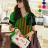 เสื้อยืดแฟชั่น คอวี แขนเบิ้ล ลาย US V Flag สีเขียว (Size M: รอบอก 36 นิ้ว)