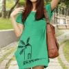 เสื้อยืดเกาหลี ตัวยาว ลาย กังหันลม สีเขียว