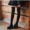 ถุงเท้ายาวเหนือเข่า สีดำเรียบ