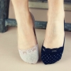 S425 **พร้อมส่ง** (ปลีก+ส่ง) ถุงเท้าคัทชู สีล้วนและลายจุด เนื้อค๊อตต้อน แต่งลูกไม้ คละสี มี 12 คู่ต่อแพ็ค เนื้อดี งานนำเข้า(Made in China)