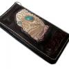 กระเป๋าสตางค์ยาว หนังแท้ รูปหัวกระโหลก ตาเป็นหินเทิกคอยด์ แบบ 2 พับ พร้อมโซ่