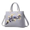 พร้อมส่ง กระเป๋าหนัง กระเป๋าถือสตรี สไตล์แบรนด์ MIU MIU ปักลายดอกไม้ แฟชั่นเกาหลี รหัส KO-8255 สีเทา 1 ใบ