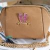 พร้อมส่ง KB-628-2 สีครีม กระเป๋าสะพายไซร์มินิน่ารักสายสะพายโซ่แต่งอะไหล่ Glitter-rabbit หนังช้าง เนื้อสวยมาก