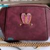 พร้อมส่ง KB-628-2 สีม่วงมะเหมี่ยว กระเป๋าสะพายไซร์มินิน่ารักสายสะพายโซ่แต่งอะไหล่ Glitter-rabbit หนังช้าง เนื้อสวยมาก