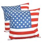 หมอนอิง ลายธงชาติอเมริกา สวยๆ งามๆ ขนาด 18 x 18 นิ้ว ขายที่ละเป็นคู่
