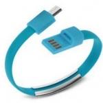 สายชาร์จ แบบสายรัดข้อมือ Micro USB สีฟ้า