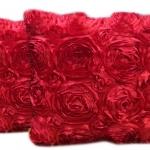 หมอนอิง เป็นรูปดอกกุหลาบเต็มใบ สวยๆ งามๆ ขนาด 16 นิ้ว ขายที่ละเป็นคู่
