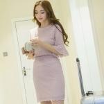 แฟชั่นเกาหลี set เสื้อ และกระโปรงน่ารักมากๆ ผ้าลูกไม้ยืดลายตามแบบ สีม่วง
