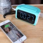 อะแดปเตอร์ Remax Hub Alarm Clock 4USB สีฟ้า
