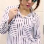เสื้อแฟชั่น สุด Chic เสื้อเชิ้ต แขนยาว ลายทาง รหัส SU9014_2