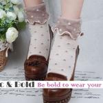 [พิเศษ 2 คู่ 100 ] ถุงเท้าขอบระบายน่ารักแนววินเทล มี 5 สี