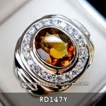 แหวนพลอยชาย พลอยแท้ซิทริน (Citrine) RG147Y