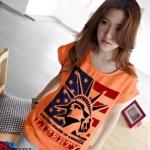 เสื้อยืดแฟชั่น แขนเบิ้ล ลาย Liberty III สีส้ม