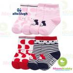 ถุงเท้าเด็กลาย allo&lugh มีพื้นกันลื่น ขนาด 12-14cm เซต 4 คู่