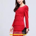 Pre-Order ชุดราตรีสั้น ชุดเดรสเข้ารูป Brand Fu daiyi สีแดง แขนยาว ผ้าโพลีเอสเตอร์ ยืดหยุ่นดี ไม่ยับง่ายไม่ต้องรีด สวยมากๆ สินค้าเกรด A