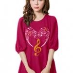 เสื้อยืดแฟชั่น ตัวยาว แขนกึ่งบอลลูน ผ้านุ่ม ลาย Musical Heart สีชมพูบานเย็น