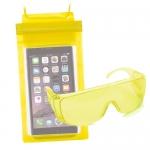 ซองกันน้ำ 3 ล็อค คุ่กับ แว่นตากันน้ำ สุดเก๋ สีเหลือง ราคา 75