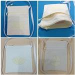 กระเป๋าผ้าสีขาว, ตกแต่งด้วยผ้าสีครีม, White & Cream Fabric Bag