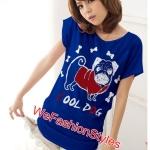 เสื้อยืดแฟชั่น ผ้านุ่ม ลาย Cool Dog (Size M:36 นิ้ว) สีน้ำเงิน