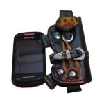 กระเป๋าใส่โทรศัพท์ หนังวัวแท้ ประดับด้วย ลวดลายไฟ และเข็มขัดเพื่อยึดตัวกระเป๋า