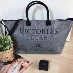 Victorias Secret Limited Edition Weekender Tote Bag Silver Glitter XL Zipper (รหัสV-01)