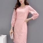 ชุดเดรสสวยๆ สีชมพู เดรสผ้าลูกไม้สีชมพู ลายดอกไม้เนื้อดี เนื้อนุ่มมากๆ