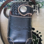 ซองหนังใส่กระเป๋าหนังแท้ ซองสีดำเงา
