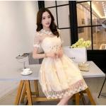 ชุดเดรสออกงาน ผ้ามุ้ง แฟชั่นเกาหลี ปักลายดอกไม้ สีครีม