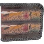 กระเป๋าสตางค์ หนังแท้ แบบ 2 พับ ขอบถักด้วยเส้นหนัง รูป เผ่าพันธุิ์แห่งอาชา