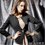 (เสื้อผ้าแฟชั่น นำเข้า พร้อมส่ง) Tian-Mu เสื้อสูทแขนยาวสีดำ