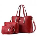 พร้อมส่ง กระเป๋าผู้หญิง ถือและสะพายข้าง ลายสานหนัง PU เซ็ต 3 ใบ แฟชั่นสไตล์ยุโรป รหัส KO-352 สีไวน์แดง 2 เช็ต