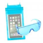 ซองกันน้ำ 3 ล็อค คุ่กับ แว่นตากันน้ำ สุดเก๋ สีฟ้า ราคา 75