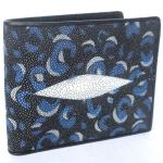กระเป๋าสตางค์หนังปลากระเบนแท้ ลายเสือ สีน้ำเงิน สวยงาม หรูหรา