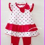 ชุดเสื้อสีแดงลายหัวใจ แขนระบาย พร้อมกางเกงเลคกิ้ง ไซส์ 12, 18 เดือน