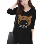 เสื้อยืดแฟชั่นแขนยาว ปลายหยัก ผ้า Cotton Combed เนื้อนุ่ม ลาย Meow Meow สีดำ
